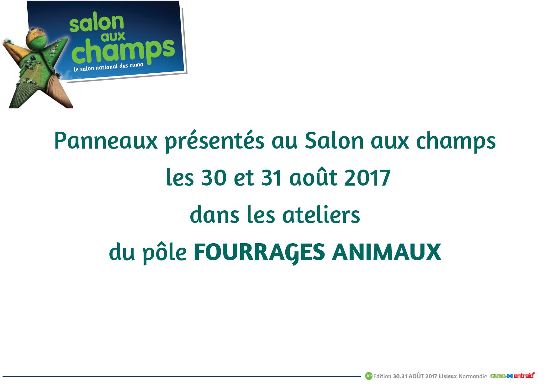 Fourrages animaux panneaux salon aux champs 2017 cuma for Salon aux champs